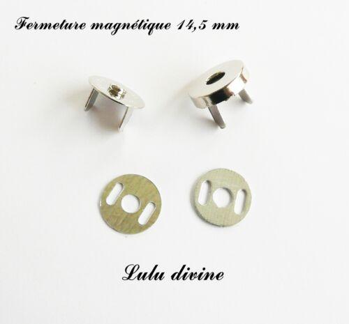 10 Fermoirs aimant aimanté Fermeture magnétique pour sac Ø 14,5 mm Argent
