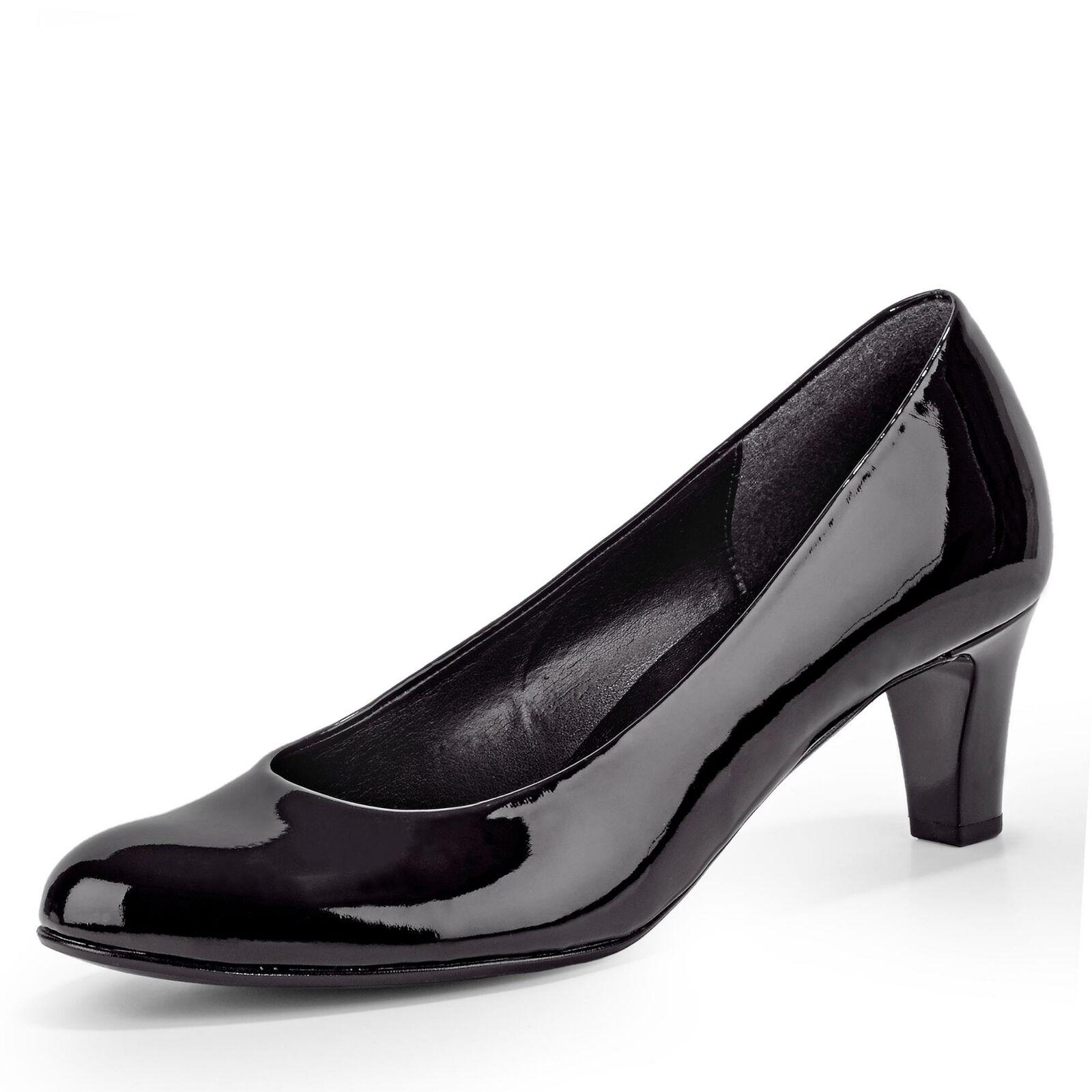 Gabor Damen Pumps Klassisch Schlupfschuh Lackschuh Blockabsatz Schuhe schwarz