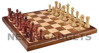 Chess Board Game Set 21 INCH FOLDING X-LARGE Inlaid Wood Wooden Weighted Pieces
