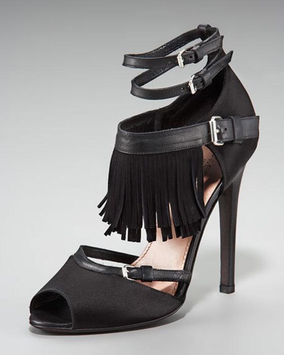 NEW GIAMBATTISTA VALLI LEATHER SATIN SUEDE FRINGE chaussures SANDALS 39 - 8