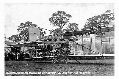 Pt8490 Col Photograph 6x4 Cody Plane At Doncaster Racecourse Yorkshire