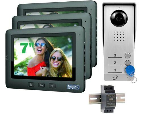"""Video Türsprechanlage 3 Familienhaus 3x 7/"""" TFT LCD Monitor Gegensprechanlage RFI"""