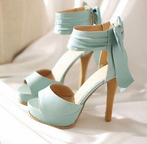 Elegantes-Sandalias-de-mujer-azul-tacon-alto-12-5-cm-y-la-meseta-n-38