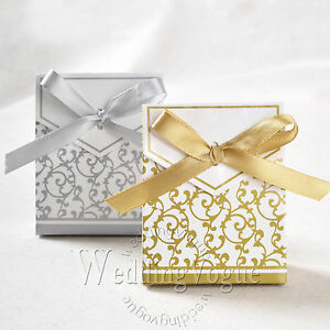 ... -Sliver-Gold-Bridal-Wedding-Party-Favor-Gift-Ribbons-Candy-Boxes-Bags