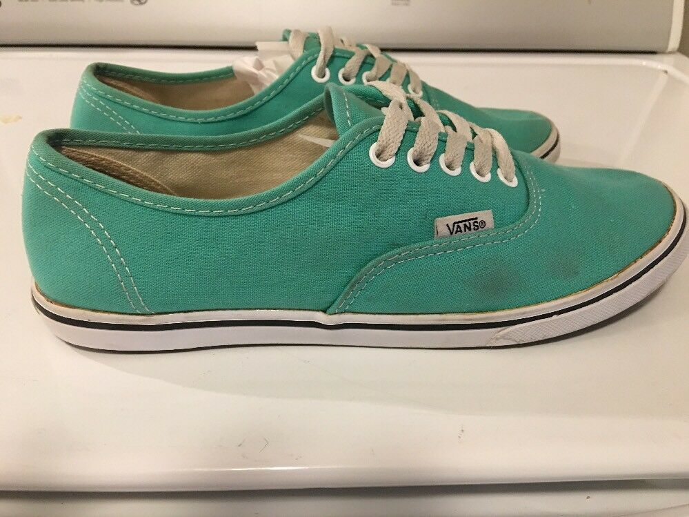 VANS WOMEN'S SZ 8 MEN'S WALL 6.5 SKATING OFF THE WALL MEN'S CANVAS TURQUOISE SNEAKERS SHOES 8795ca