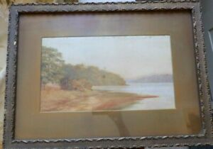 Original-Old-Watercolour-painting-of-Nacton-Shores-River-Orwell-Suffolk