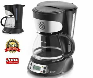 FILTER COFFEE MAKER Programmable 750ml Anti Drip Function Warming Plate Black...