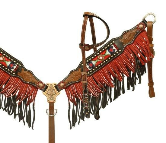 Showman Leather Bridle & Breast Collar Set w  Beaded Inlay & Suede Fringe  NEW