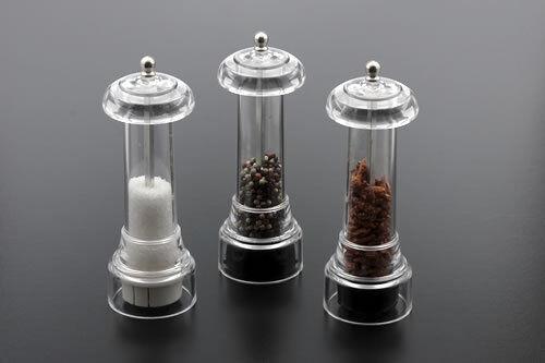 I QUANTO BASTA set di macina sale pepe e peperoncino in metacrilato cm 18