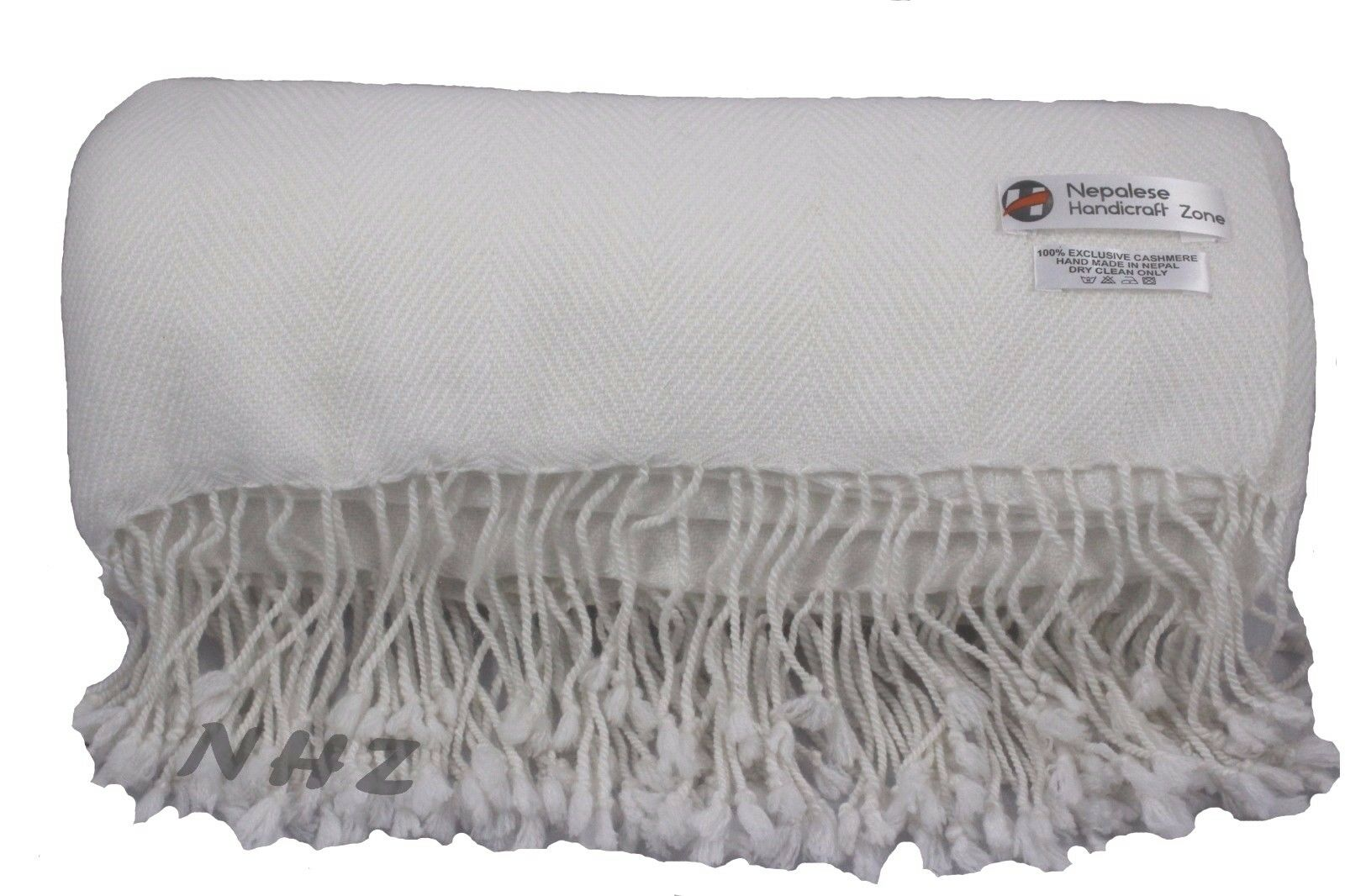 Himalayan CashmereThrowNatural Weiß FarbeBlanket54 x108 Hand Made in Nepal