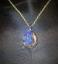 thumbnail 1 - Druzy Quartz Blue Crystal Teardrop Gold Plated Pendant goldplated chain Magical!