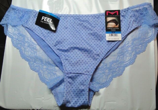 84e82bb7b6c1 MAIDENFORM Comfort Devotion Lace Back Tanga Panty 40159 Blue with Polka Dots