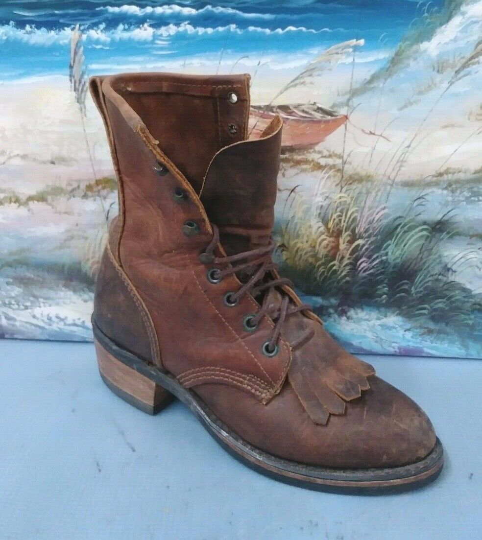 Durango Womens Brown Leather Boots Hightop Vibram Soles Size 7.5 M Style RD535