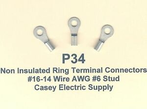 NON-INSULATED #6 RING TERMINAL CONNECTOR UNINSULATED  Made in USA 50 16-14 Ga