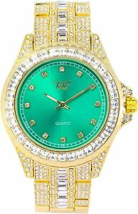 Fully Iced Watch Bling Rapper Simulate Diamond Lab Gold Green Metal Band Luxury