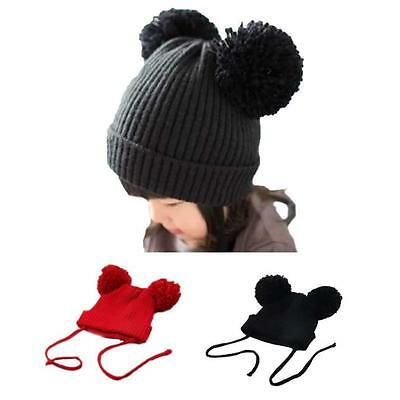 Winter Newborn Baby Girl Boy Kid Warm Pom-Pom Bobble Knit Beanie Hat Crochet Cap