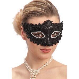 Mascherina-NERA-Sexy-Pizzo-Strass-Maschera-Carnevale-Veneziana-Costume-Venezia