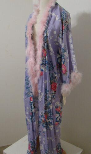 JUDY'S Robe Vintage Rayon Lavender Floral Print Fe