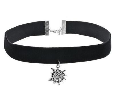Kette Choker Halskette Samt Edelweiss   Schwarz  Halsband