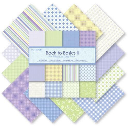 lot 24 feuilles BACK TO BASICS 2 papiers 20x20cm scrapbooking cartes voeux