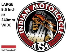 VINTAGE INDIAN USA MOTOR CYCLE DECAL STICKER LABEL 9.5 INCH DIA 240 MM HOT ROD