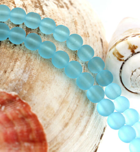 Frosted Blue U165 Round Cultured Sea Glass Beads 6mm 1 Strand 34 Beads