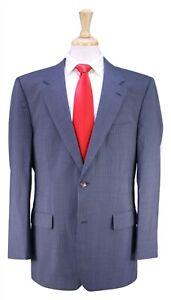 HUGO-BOSS-Gable-Vegas-Sky-Blue-Black-Thin-Striped-2-Btn-Wool-Luxury-Suit-44R