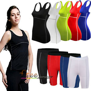 Women-Sports-Compression-Base-Layers-Sleeveless-Vest-T-Shirts-Tight-Pants-Shorts