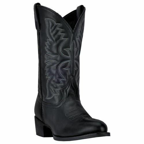 Homme Larougeo Birchbois Western Cowboy Bottes en cuir noir 68450