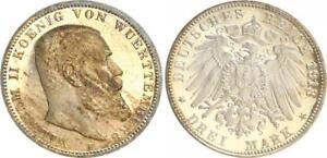 Württemberg 3 Mark 1913 Wilhelm II Pf (2) Proof, Rubbed, Patina