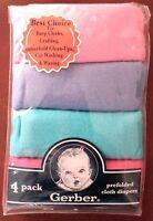 Gerber Baby Girls Cotton Burp Cloths/diapers 4 Pk Multi-color Appox 20x14