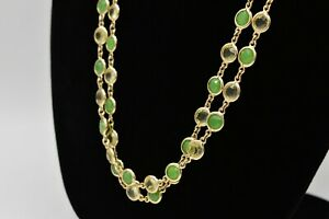 Talbots-Vintage-Statement-Necklace-Open-Bezel-Crystal-Green-Clear-Gold-Chic-Bin2