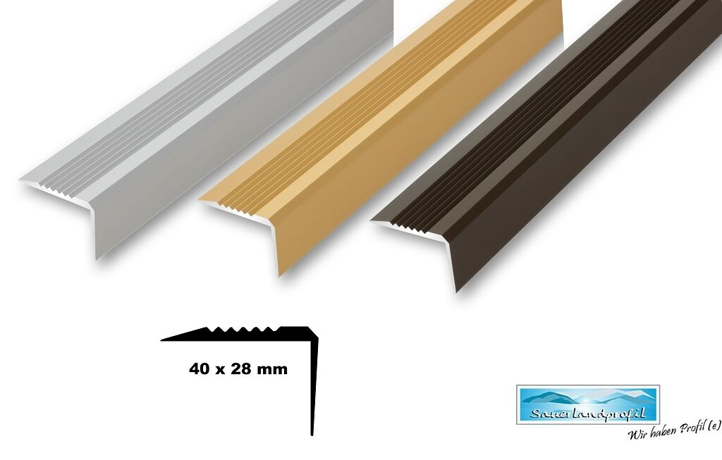 Treppenwinkel 40x28 mm stabil Treppenkantenprofil Kantenprofil Kantenschutz Kantenschutz Kantenschutz Alu f18033