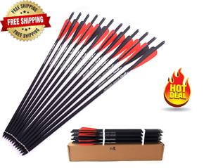 "6//12 X Crossbow Bolts 16/"" Archery Arrows Carbon Arrow Hunting 4/'/' Vanes 2 Colors"