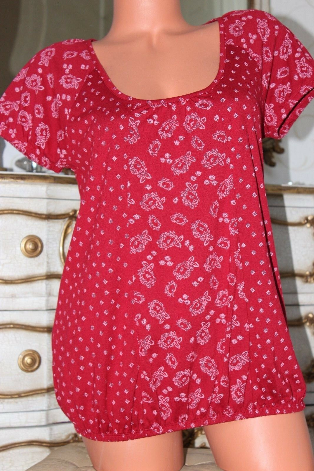 (Ref 20) TU Red  Viscose Mix Elasticated Summer Top T shirt Size 10