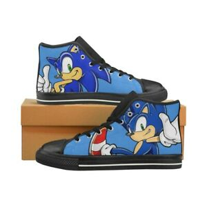 Sonic The Hedgehog Children S Shoes Sneakers Hi Tops Lace Up Canvas Boys Girls Ebay