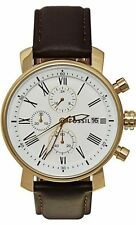 NWT Fossil BQ1009 Men's Brown Leather Strap White Dial Chronograph Watch