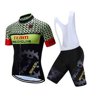 Outdoor Men Pro Team Cycling Bike Short Sleeve Jersey Bib Shorts Set ... 4fde6c7ef