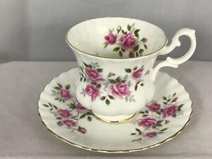 Vintage-Teacup-amp-Saucer-Royal-Albert-Demi-Tasse-Sprays-of-Pink-cabbage-roses