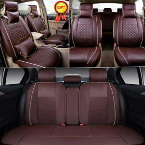 US PU Leather Car Seat Cover Cushions Full Set 5-Seats SUV Front+Rear