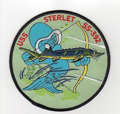 USS Sterlet SS 392 - Cartoon Fish Bow, Fish Arrow BC Patch Cat No B400