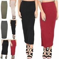 Womens Midi Skirt Ladies Plain Stretchy Wiggle Pencil Tube Jersey Long Bodycon