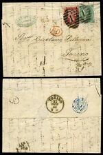 GB QV 1866 ENTIRE to ITALY TURIN 1/- SG101 + 1d RED LONDON No.1..ROSSELLI CACHET