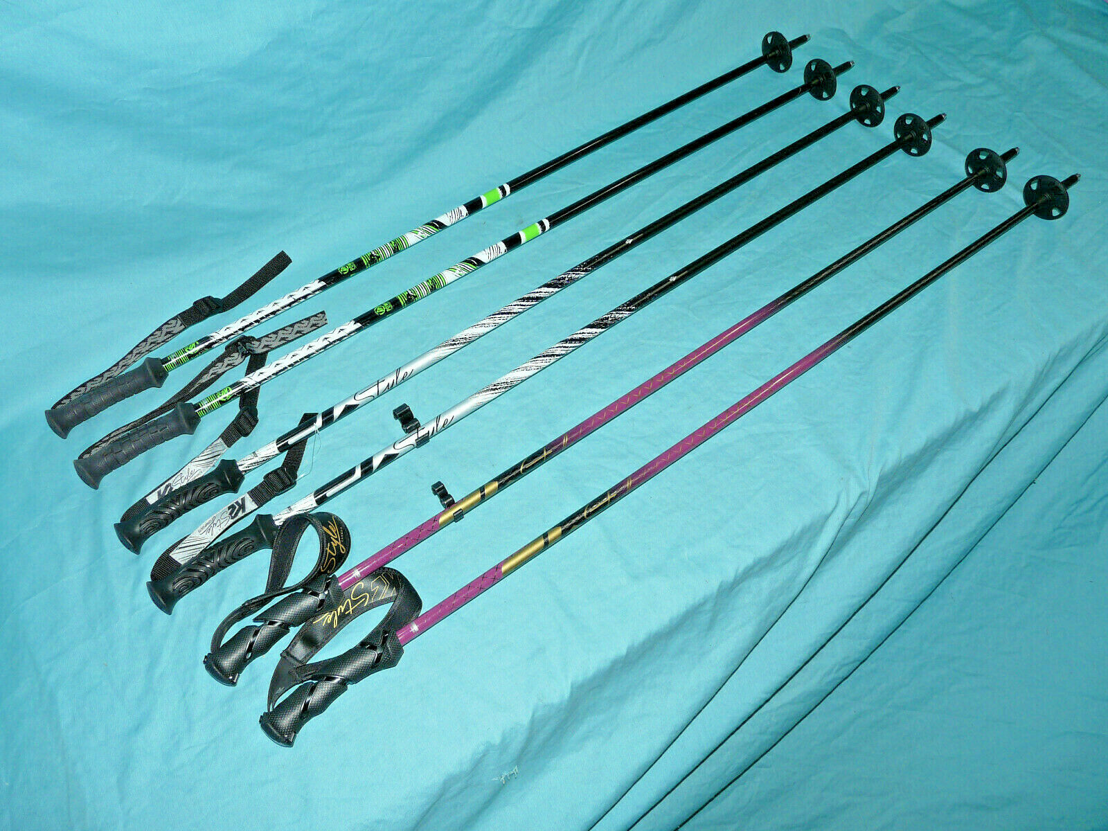 Lot 3 Pair K2 Ski Poles Power Composite,  Style Comp, Style CARBON 46  115cm Ex    free shipping worldwide