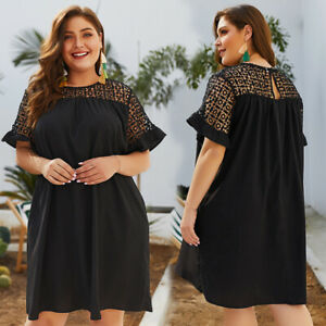 Plus-Size-Women-Black-Ruffle-Sleeve-Shift-Dress-Casual-Ladies-Lace-Short-Dresses