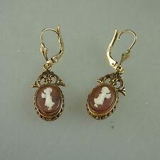 Paar Ohrringe mit Kamee Kind im Stil der Biedermeierzeit (41200)