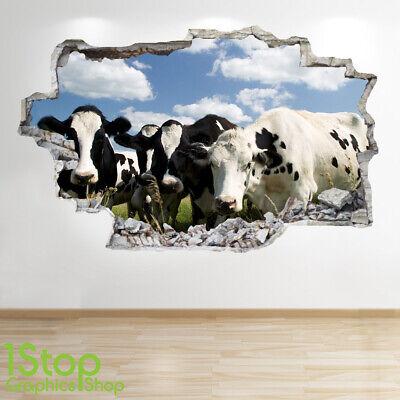 Vache Autocollant Mural 3D Look Chambre Salon Nature Yard Ferme Z749