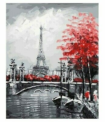 Paint By Numbers DIY Kit Kissing Lovers City Rain 40CMx50CM Canvas