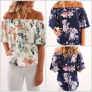 UK-NEW-Womens-Off-Shoulder-short-Sleeve-Floral-T-Shirt-Summer-Beach-Tops-Blouse