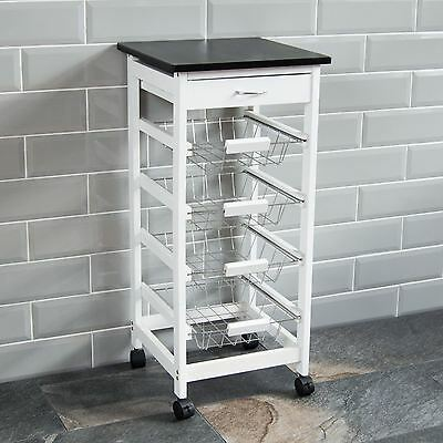 4 Tier Kitchen Trolley White Wooden Cart Basket Storage Drawer By Home Discount